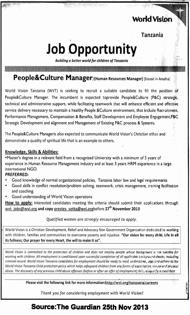 Job Description Human Resources Elegant People &culture Manager Human Resources Manager