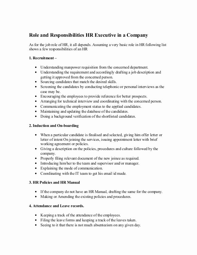 Job Description Human Resources Fresh Role and Responsibilities Hr Executive In A Pany as for