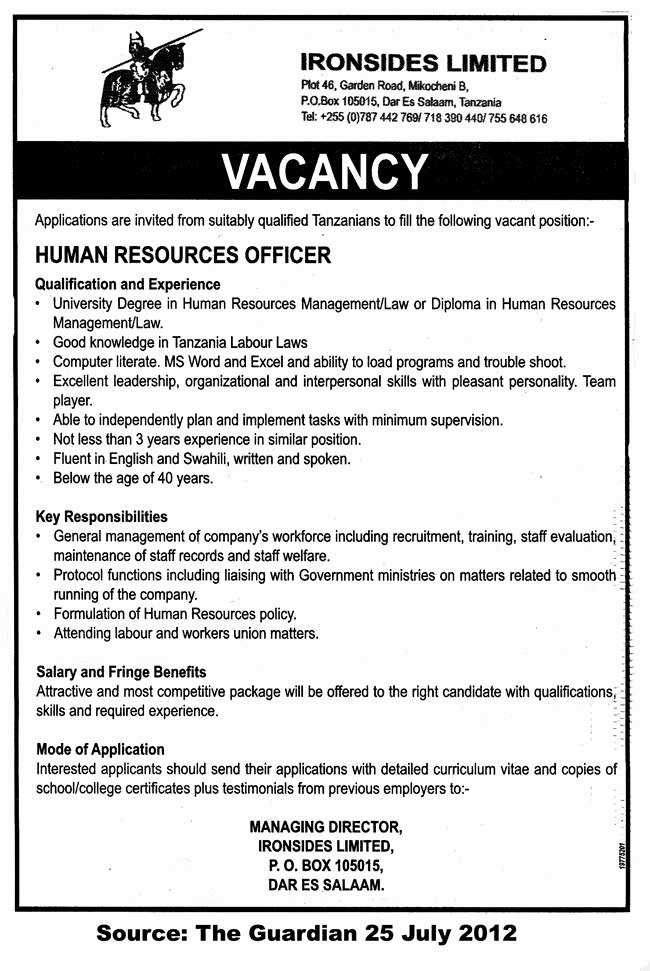 Job Description Human Resources Lovely Human Resources Ficer