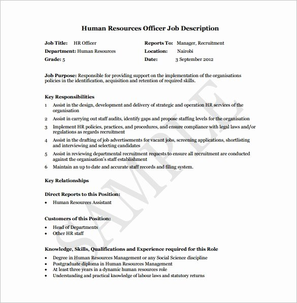 Job Description Human Resources Luxury 10 Human Resource Job Description Templates Free Sample