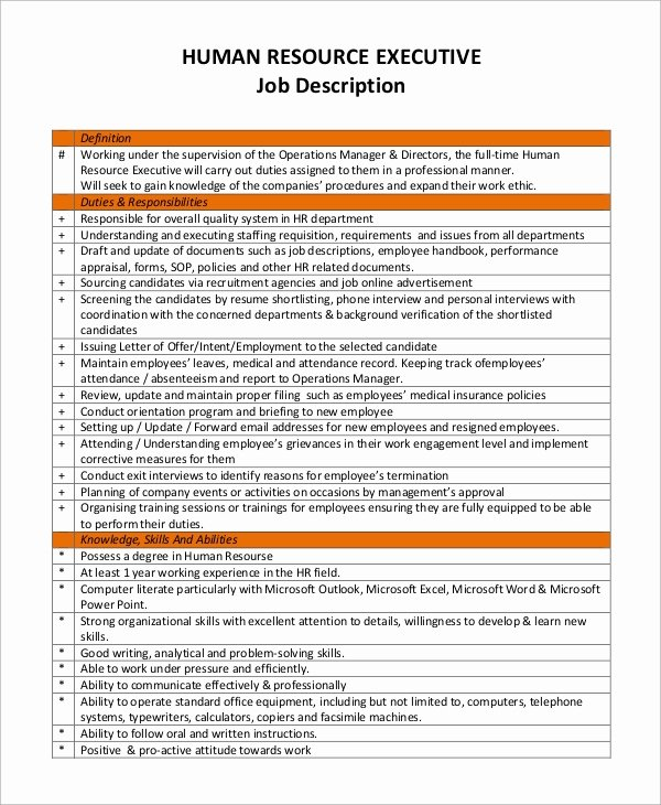 Job Description Human Resources Luxury Sample Human Resources Job Description 7 Examples In Pdf