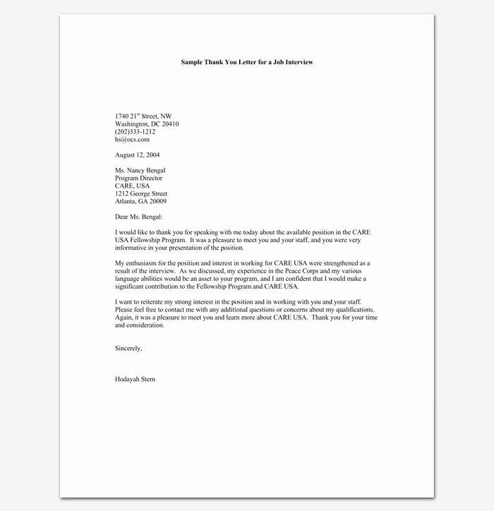 Job Interview Follow Up Letter Fresh Follow Up Letter Template 10 formats Samples & Examples