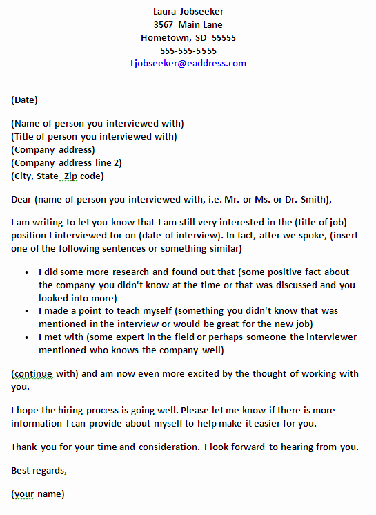 Job Interview Follow Up Letter Inspirational Template for A Follow Up Note Letter or Email after A