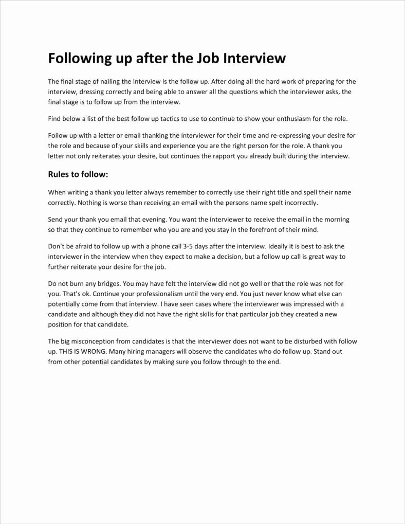 Job Interview Follow Up Letter Lovely 3 Interview Follow Up Letter Templates Pdf