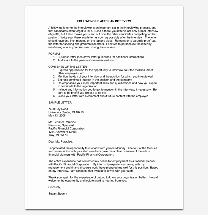 Job Interview Follow Up Letter Lovely Follow Up Letter Template 10 formats Samples & Examples