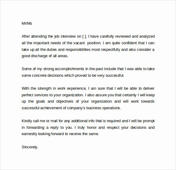 Job Interview Follow Up Letter Luxury Sample Follow Up Interview Letter 9 Download Free
