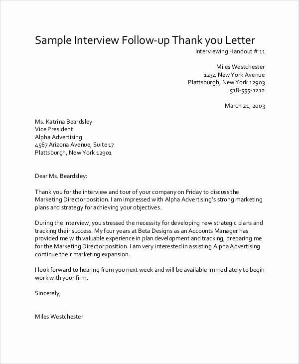 Job Interview Follow Up Letter Unique 10 Sample Thank You Follow Up Letters Free Sample