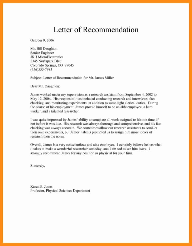 Job Recommendation Letter Sample Beautiful Free Sample Re Mendation Letter for Job Template
