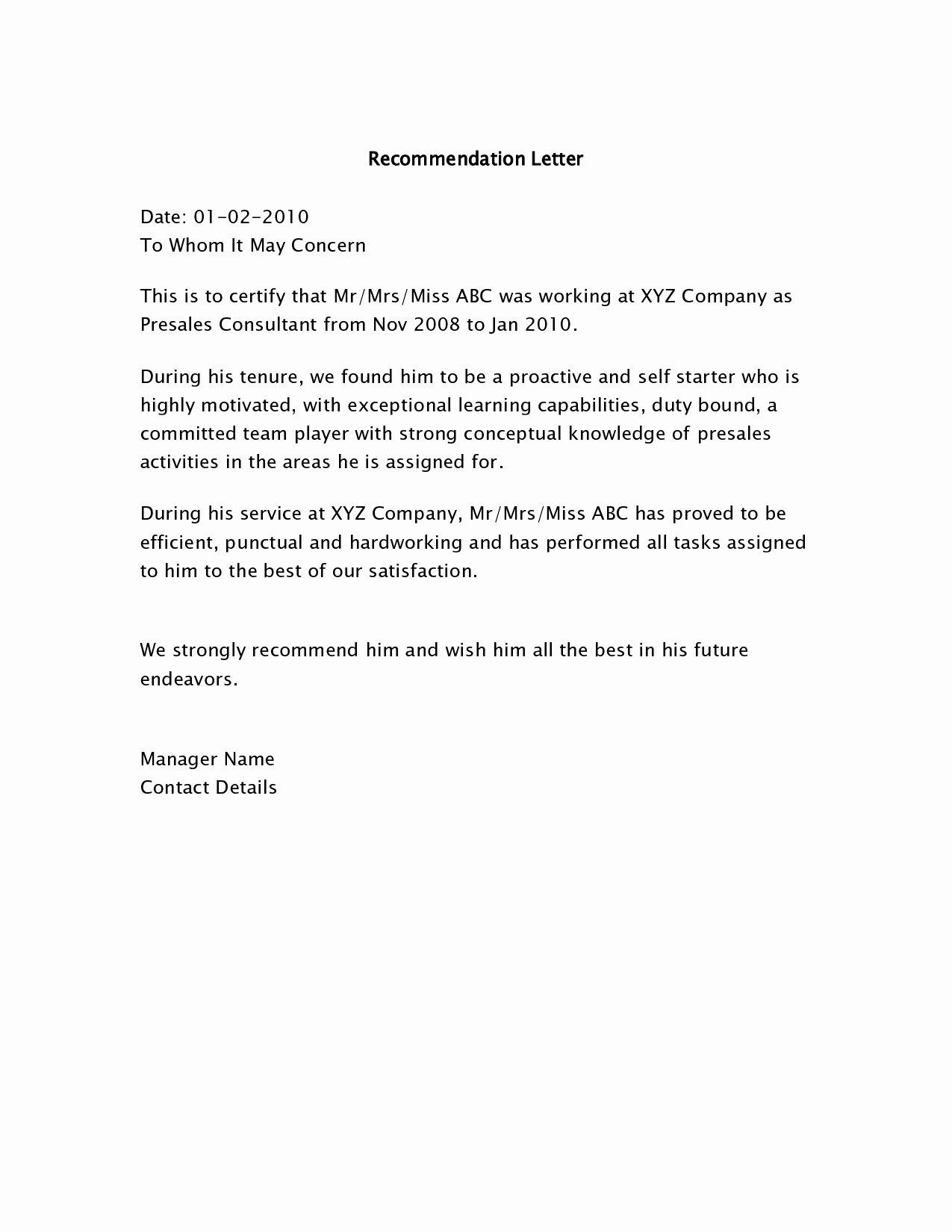 Job Recommendation Letter Sample Beautiful Letters Of Re Mendation Samples Bing