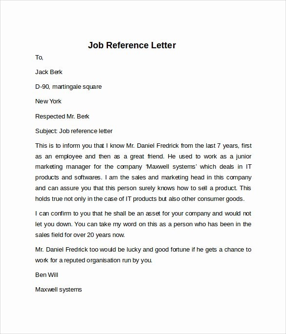 Job Recommendation Letter Sample Elegant Job Reference Letter 7 Free Samples Examples & formats