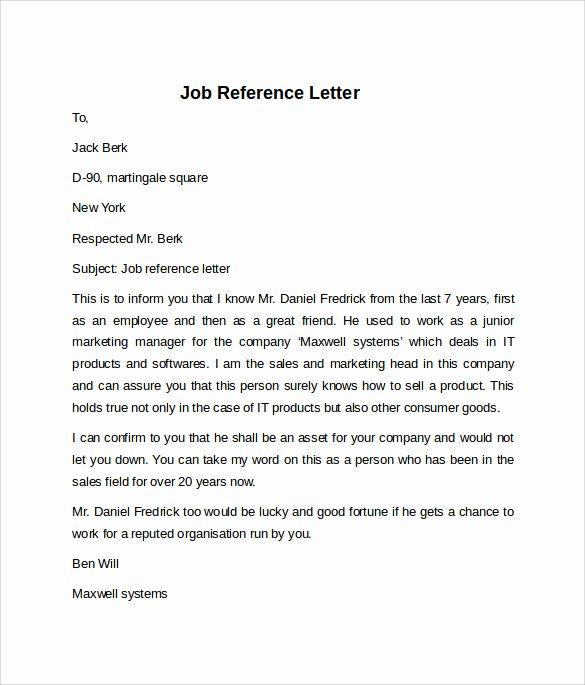 Job Recommendation Letter Sample Elegant Job Reference Letter 7 Free Samples Examples & formats