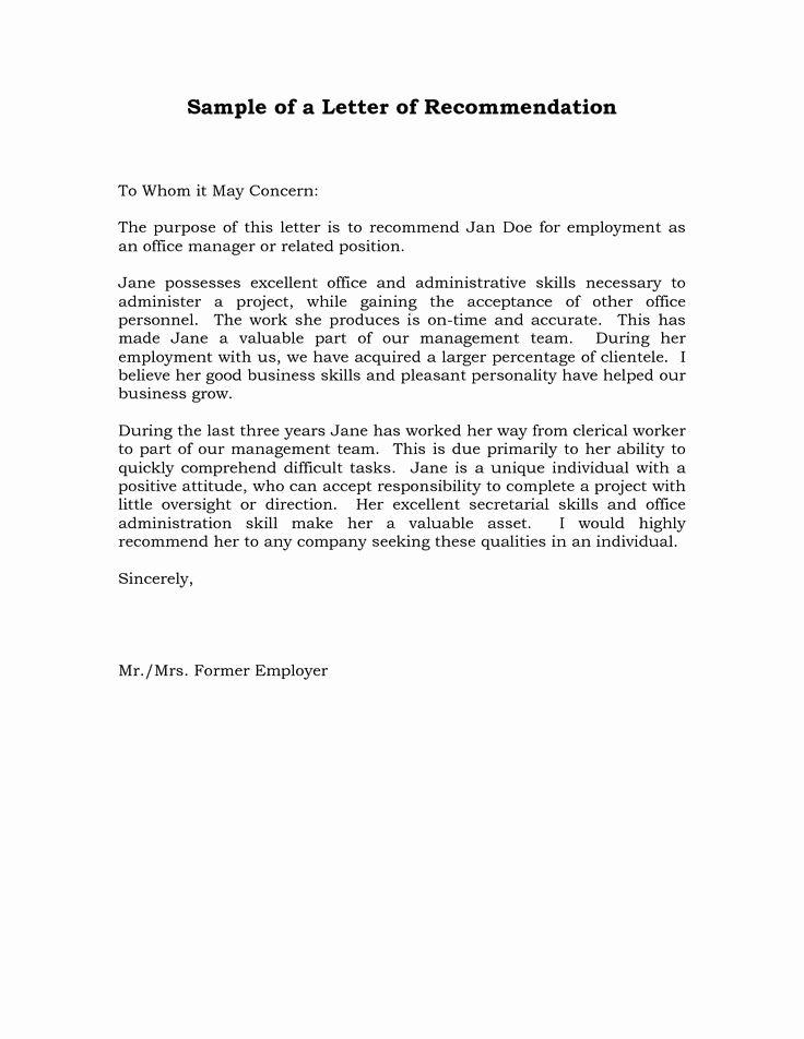 Job Recommendation Letter Sample Inspirational Reference Letter Re Mendation Sample