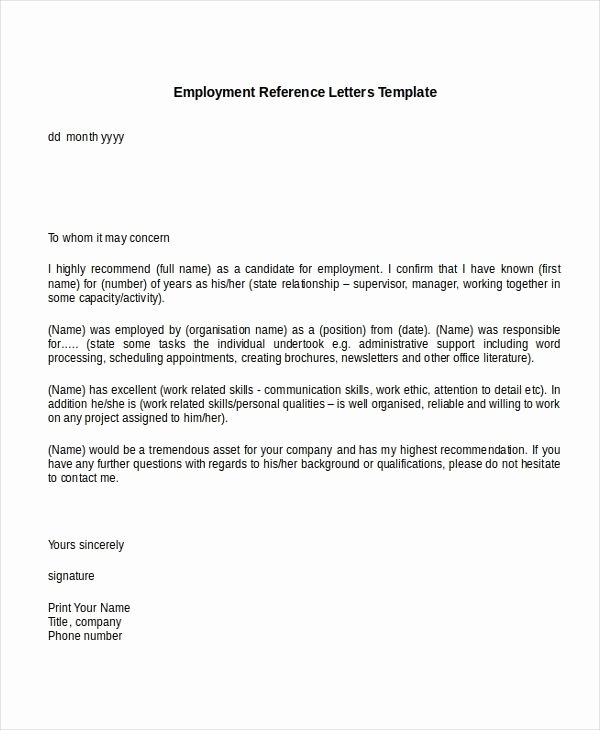 Job Recommendation Letter Sample Lovely Sample Re Mendation Letter for Job From Employer within