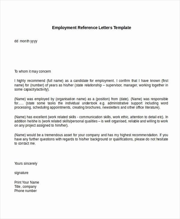 Job Recommendation Letter Sample Lovely Sample Re Mendation Letter for Job From Employer within