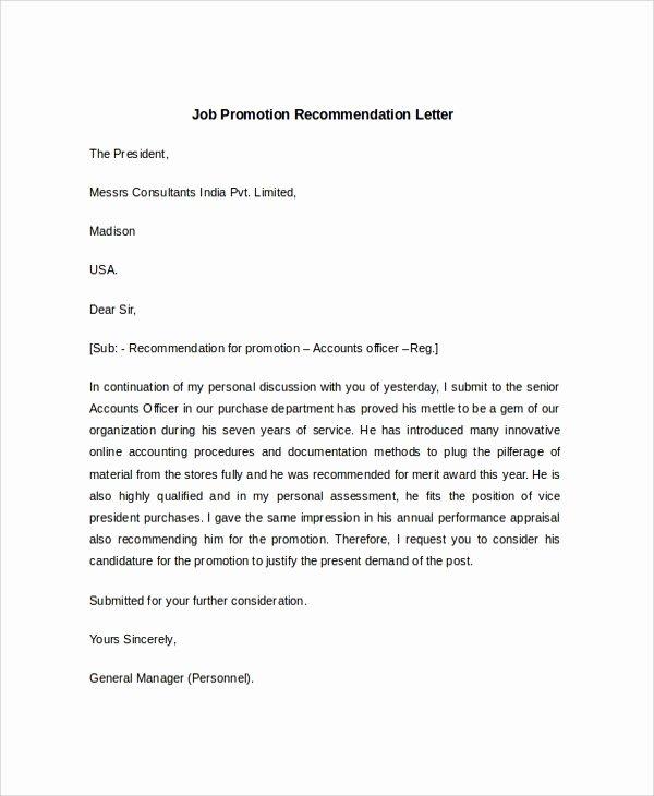 Job Recommendation Letter Sample Luxury Sample Job Re Mendation Letter 6 Documents In Pdf Word