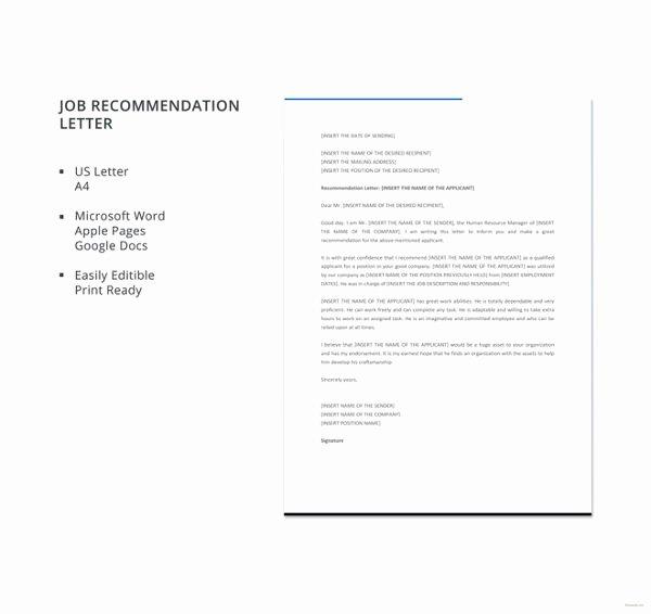 Job Recommendation Letter Sample Unique 6 Job Re Mendation Letters Free Sample Example