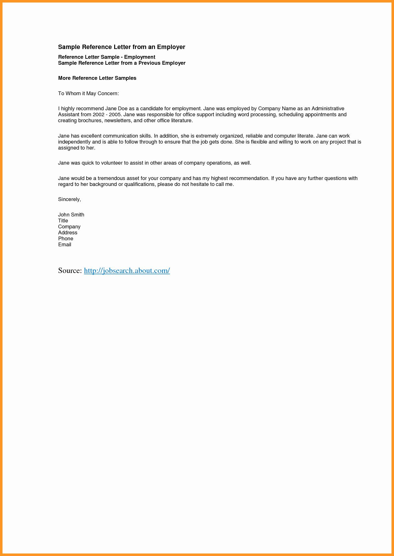 Job Recommendation Letter Sample Unique 9 10 Re Mendation Letter Samples for Employment