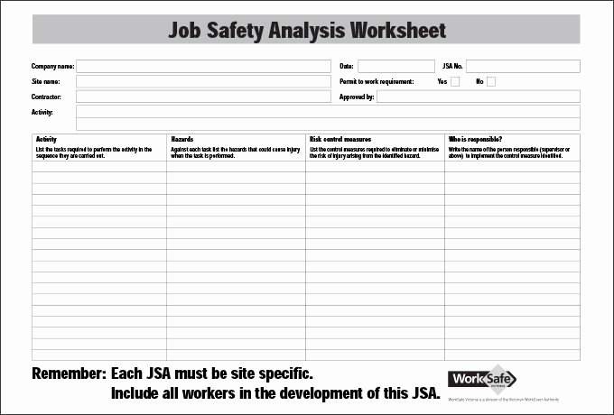 Job Safety Analysis Example Beautiful Job Safety Analysis Template 6 Free Word Pdf Documents