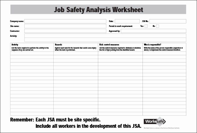Job Safety Analysis Example Elegant Job Safety Analysis form