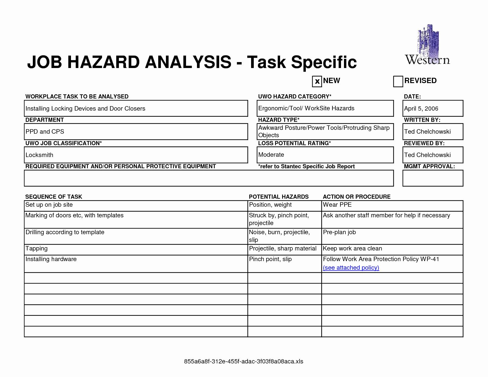 Job Safety Analysis Example Elegant Work Analysis Similar Material