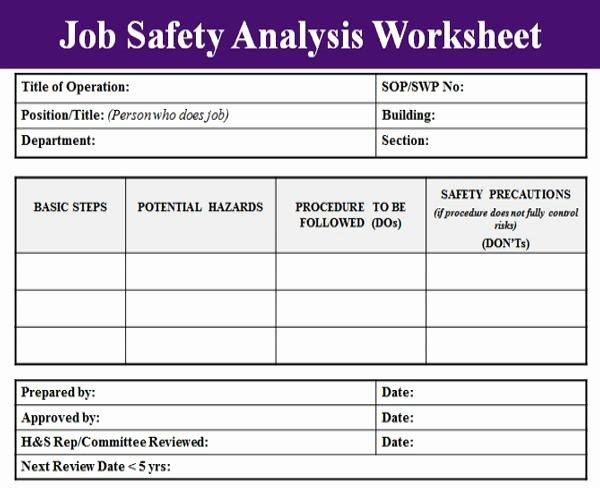 Job Safety Analysis Example Inspirational Job Hazard Analysis form