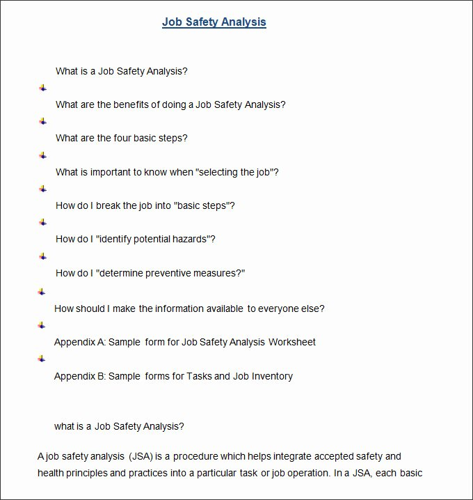Job Safety Analysis Example Lovely Job Safety Analysis Template 6 Free Word Pdf Documents