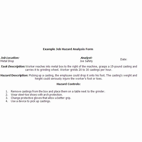 Job Safety Analysis Example Unique Sample Job Safety Analysis form are You Pliant with