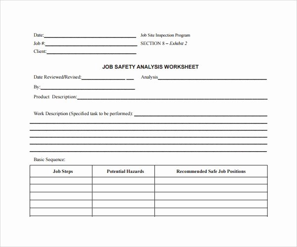 Job Safety Analysis Example Unique Sample Job Safety Analysis Template 6 Free Documents In Pdf
