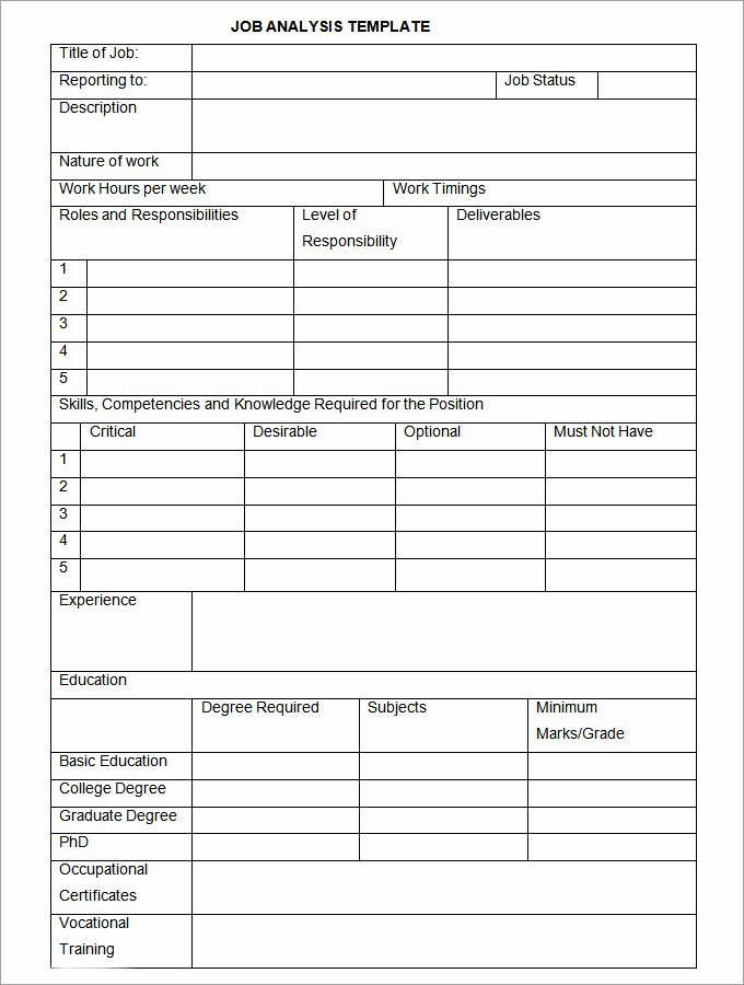 Job Task Analysis Examples Awesome Job Analysis Template 12 Free Word Excel Documents