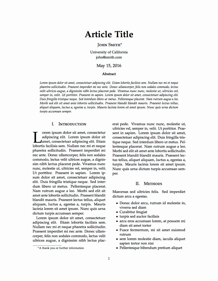 Journal Article Summary Example New Latex Templates Journal Article