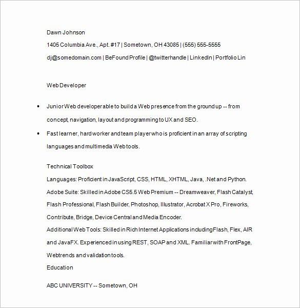 Junior Java Developer Resume Awesome Java Developer Resume Template – 14 Free Samples