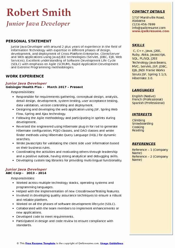 Junior Java Developer Resume Elegant Junior Java Developer Resume Samples
