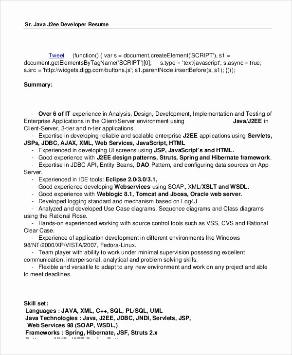 Junior Java Developer Resume Elegant Sample Java Developer Resume 7 Examples In Word Pdf