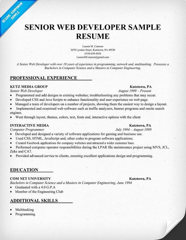Junior Java Developer Resume Inspirational Resume Sample Senior Web Developer Resume Panion