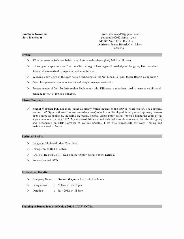 Junior Java Developer Resume Lovely Java Developer Resume 1