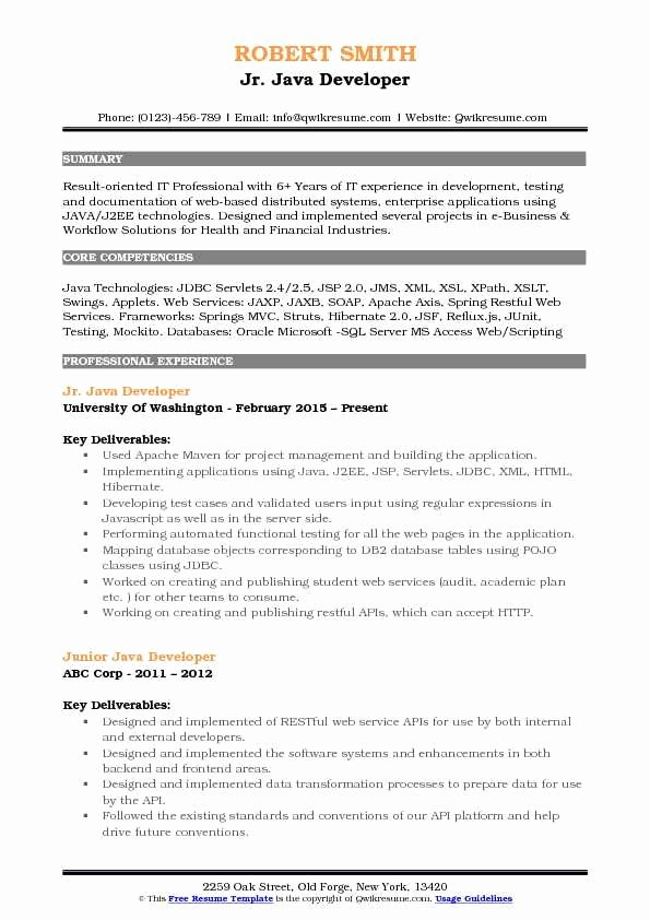Junior Java Developer Resume New Junior Java Developer Resume Samples