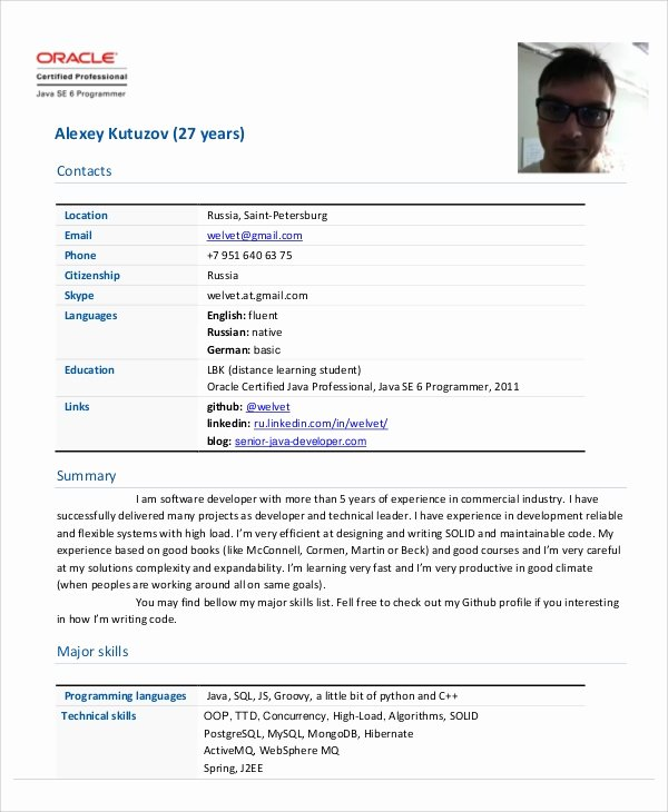 Junior Java Developer Resume New Sample Java Developer Resume 7 Examples In Word Pdf