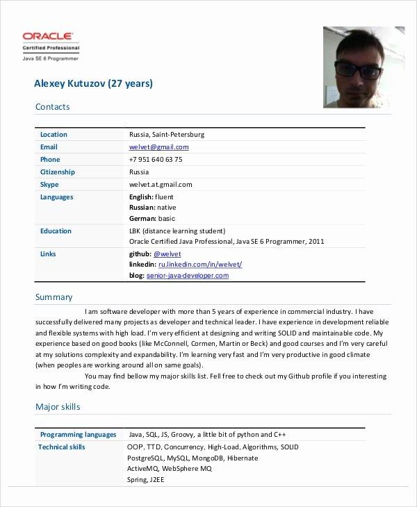 Junior Java Developer Resume New Sample Java Developer Resume 7 Examples In Word Pdf