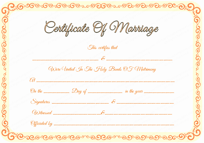 Keepsake Marriage Certificate Template Awesome 43 formal and Informal Editable Certificate Template