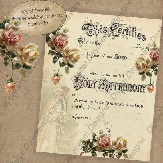Keepsake Marriage Certificate Template Elegant Wedding Keepsake Printable Wedding Certificate Marriage