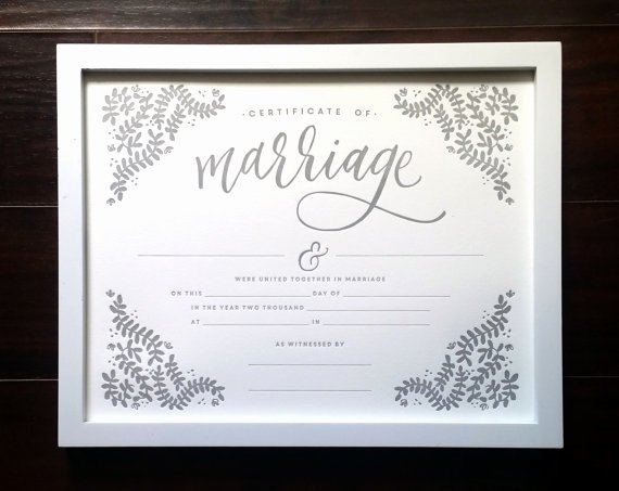 Keepsake Marriage Certificate Template Fresh Marriage Certificate 11x14 Letterpress Print Art Print