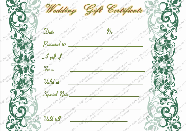 Keepsake Marriage Certificate Template Fresh Printable Teal Swirls Wedding Gift Certificate Template