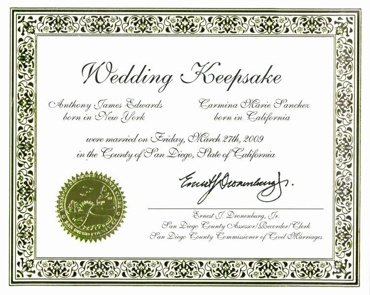 Keepsake Marriage Certificate Template Fresh Wedding Certificate Keepsake