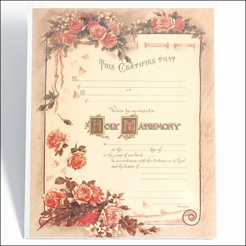 Keepsake Marriage Certificate Template Luxury Marriage Certificate Pink Rose Scroll