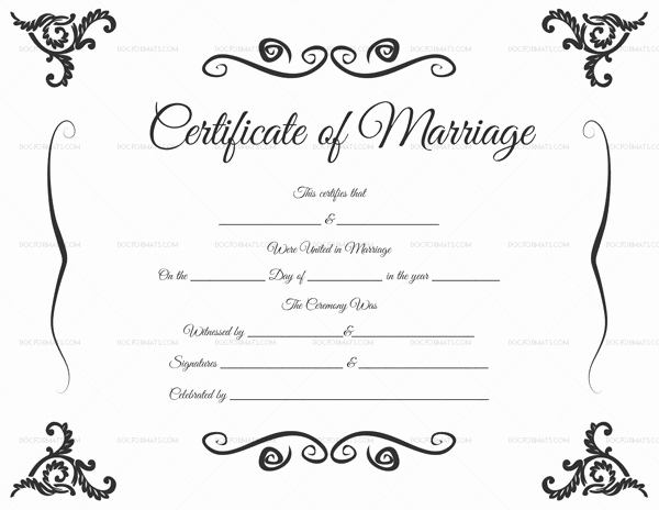 Keepsake Marriage Certificate Template New Editable Blank Marriage Certificate Templates for Word