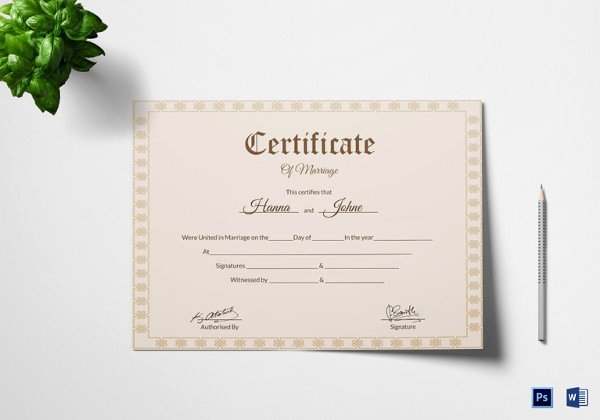 Keepsake Marriage Certificate Template New Wedding Certificate Template 22 Free Psd Ai Vector