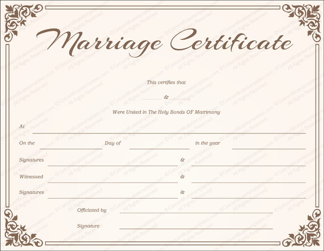 Keepsake Marriage Certificate Template Unique Free Printable Marriage Certificate Line Instant