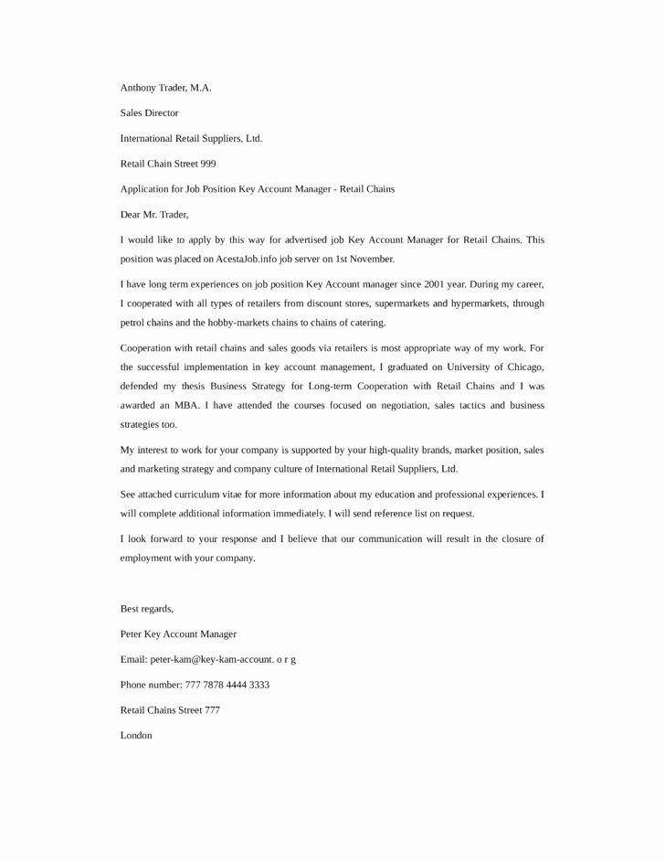 Key Account Manager Resume Awesome Basic Key Account Manager Cover Letter Samples and Templates
