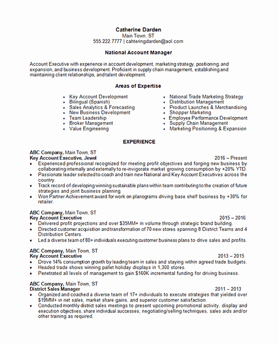 Key Account Manager Resume Best Of Account Manager Resume Example National Retail