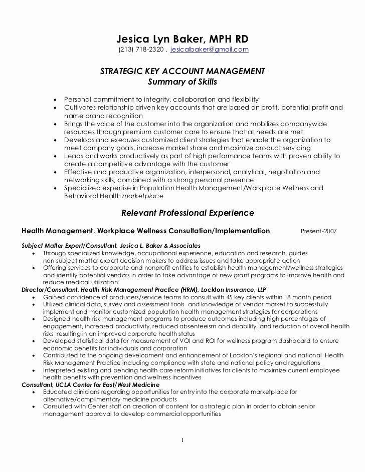 Key Account Manager Resume Fresh Strategic Key Account Management Resume 4 7 2011